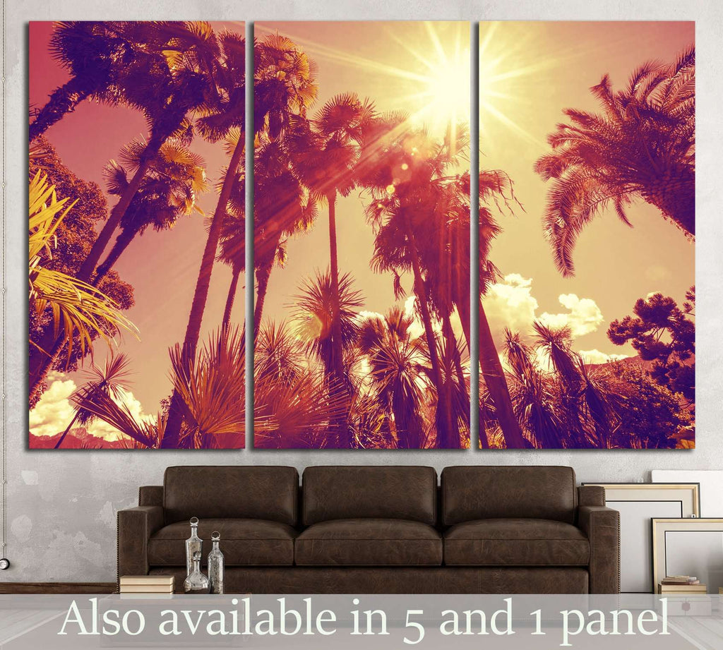 Sun shining through tall palm trees №897 Ready to Hang Canvas Print