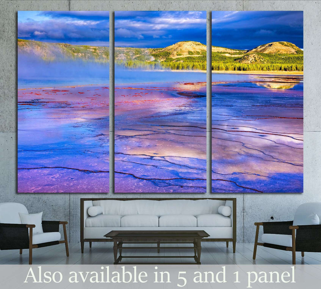 Sunrise at Grand Prismatic Spring in Yellowstone National Park №2001 Ready to Hang Canvas Print