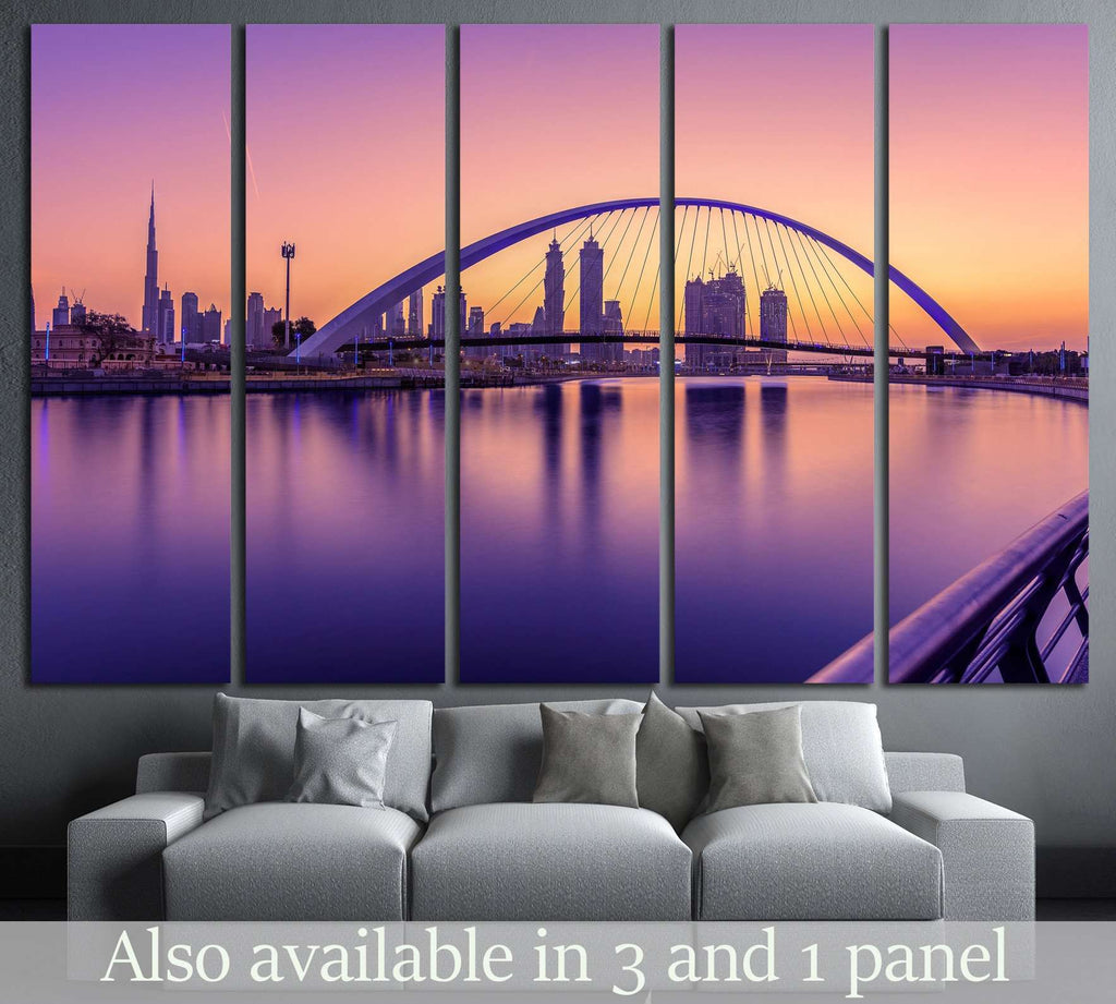 Sunrise in Dubai Canal №1259 Ready to Hang Canvas Print
