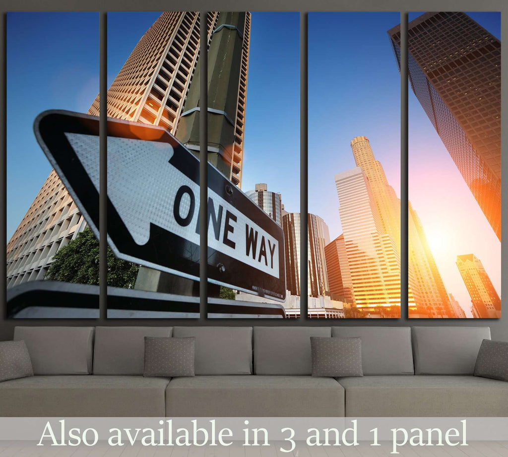 Sunrise over downtown Los Angeles, California, USA №1924 Ready to Hang Canvas Print