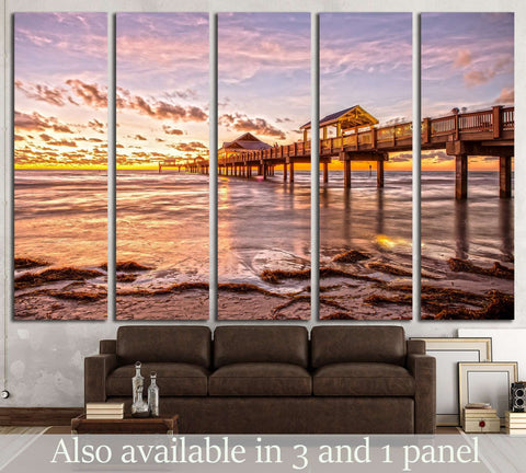 Sunset at Clearwater Beach Florida №1298 Ready to Hang Canvas Print