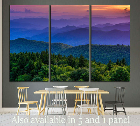 Sunset from Cowee Mountains Overlook, on the Blue Ridge Parkway in North Carolina №1970 Ready to Hang Canvas Print