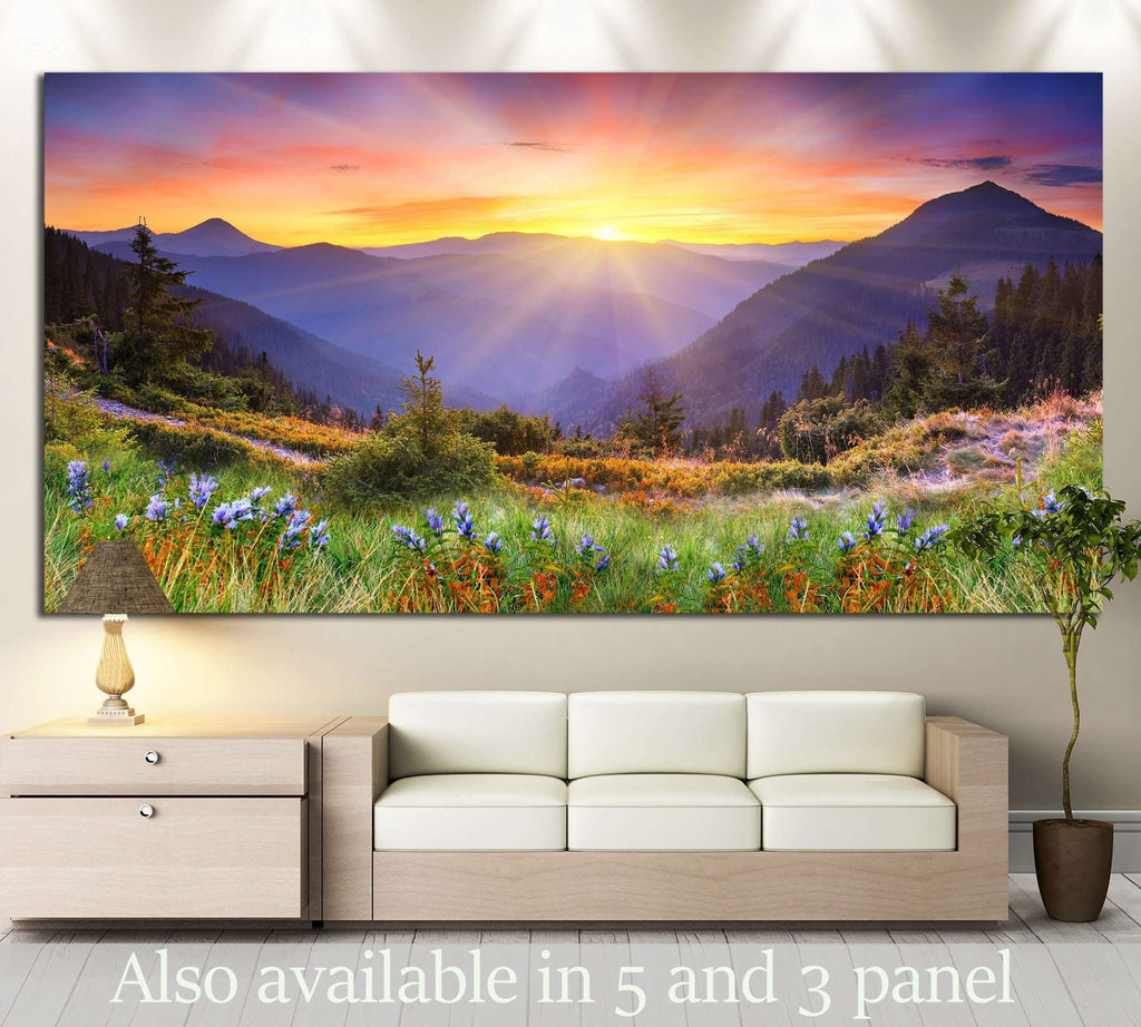sunset in the mountains №630 Ready to Hang Canvas Print