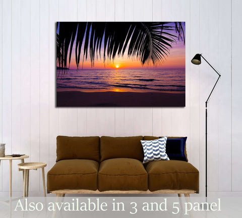 sunset landscape. beach sunset. palm trees silhouette on sunset tropical beach №3215 Ready to Hang Canvas Print