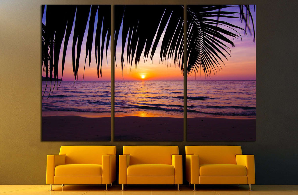 Sunset Landscape Beach Palm Trees Silhouette On Tropical No3215 Canvas