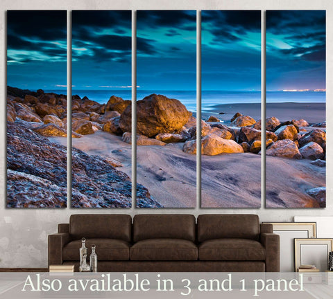 Sunset on the stones beach in Portugal №2671 Ready to Hang Canvas Print