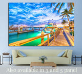 Sunset over Key West, Florida. Wooden bridge at the port №1305 Ready to Hang Canvas Print