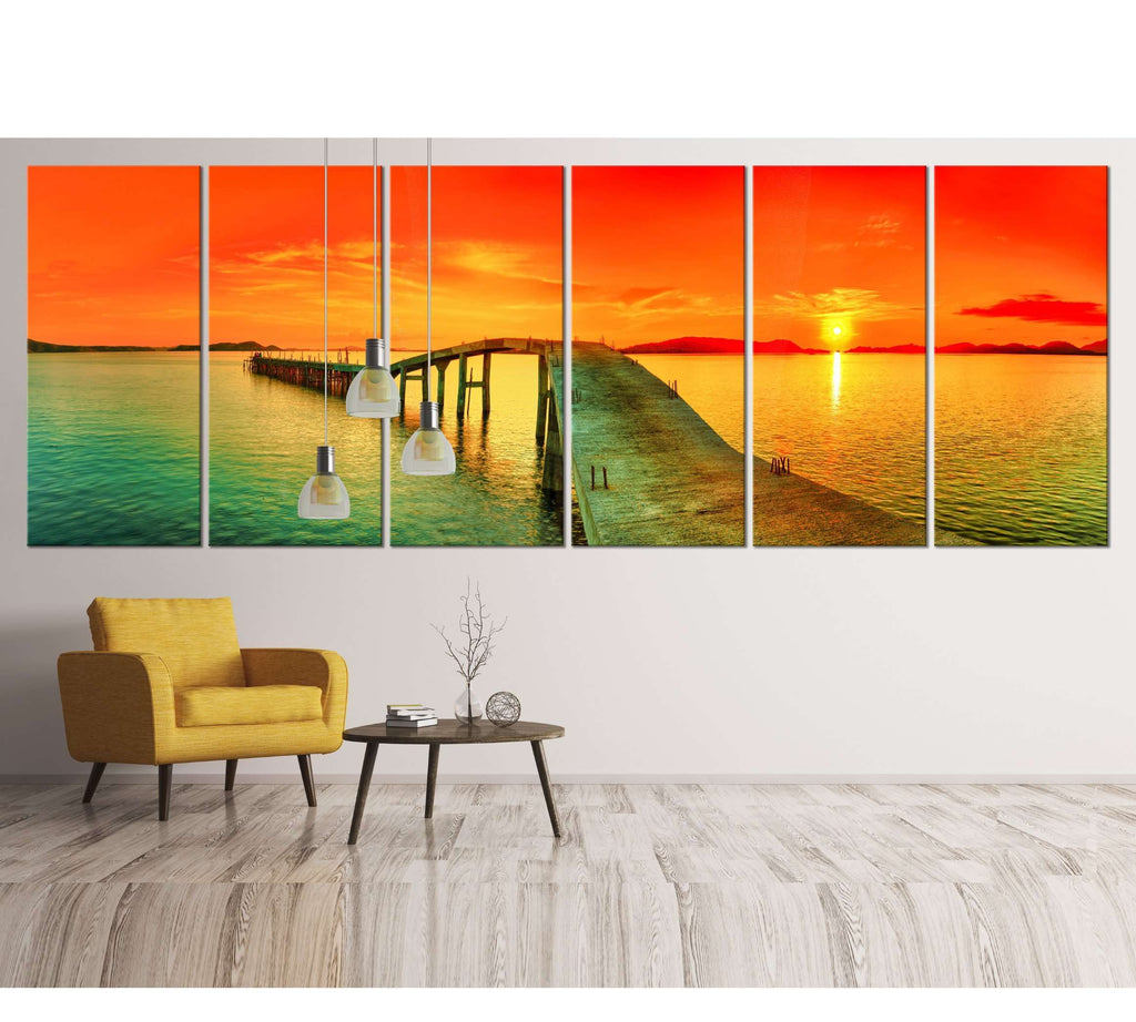 Sunset over the sea, Extra Large Panorama №42 Ready to Hang Canvas Print