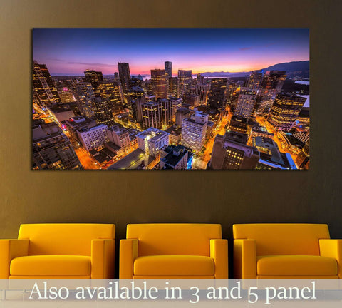 Sunset seen from the Vancouver lookout tower, British Columbia, Canada №2090 Ready to Hang Canvas Print
