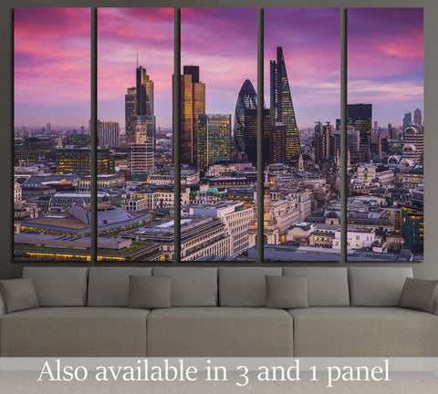 sunset with office buildings and beautiful purple sky - England, UK №3007 Ready to Hang Canvas Print