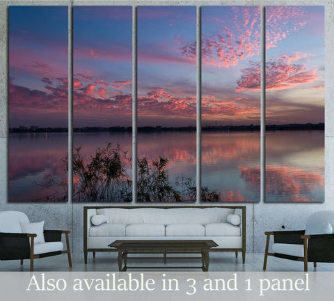 sunset with pink clouds №2855 Ready to Hang Canvas Print
