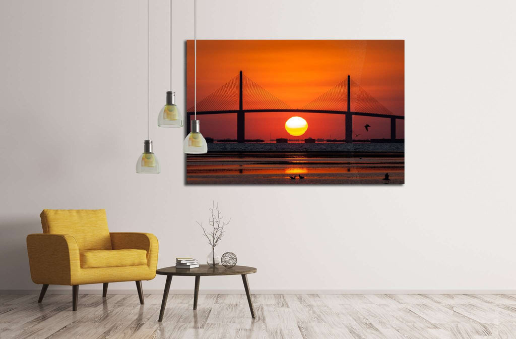 Sunshine Skyway Bridge with sunrise, Tampa Bay №1780 Ready to Hang Canvas Print