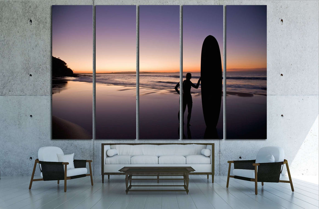 Surfer at sunset on the Sunshine Coast Queensland Australia №3256 Ready to Hang Canvas Print