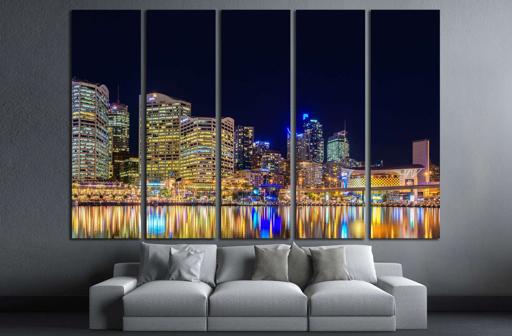 Sydney, Australiaб Darling Harbour skyline view at night time №2203 Ready to Hang Canvas Print
