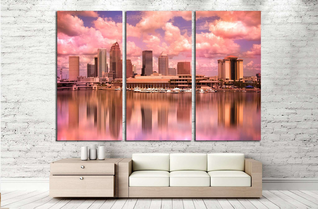 Tampa Florida skyline during colorful sunset №1679 Ready to Hang ...