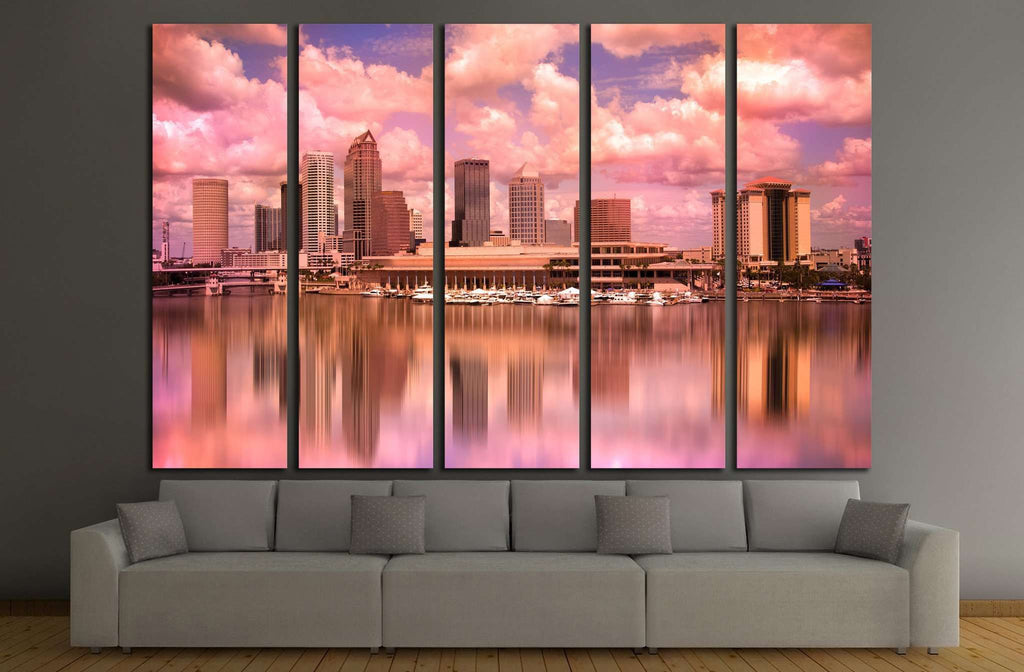 Tampa Florida skyline during colorful sunset №1679 Ready to Hang Canvas Print