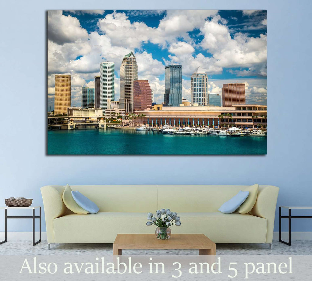 Tampa Florida skyline with sun and clouds №1677 Ready to Hang Canvas Print