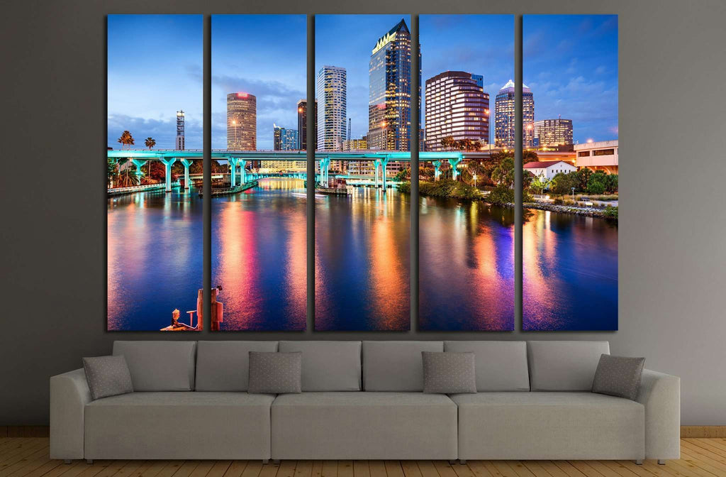 Tampa, Florida, USA downtown city skyline over the Hillsborough River №1692 Ready to Hang Canvas Print
