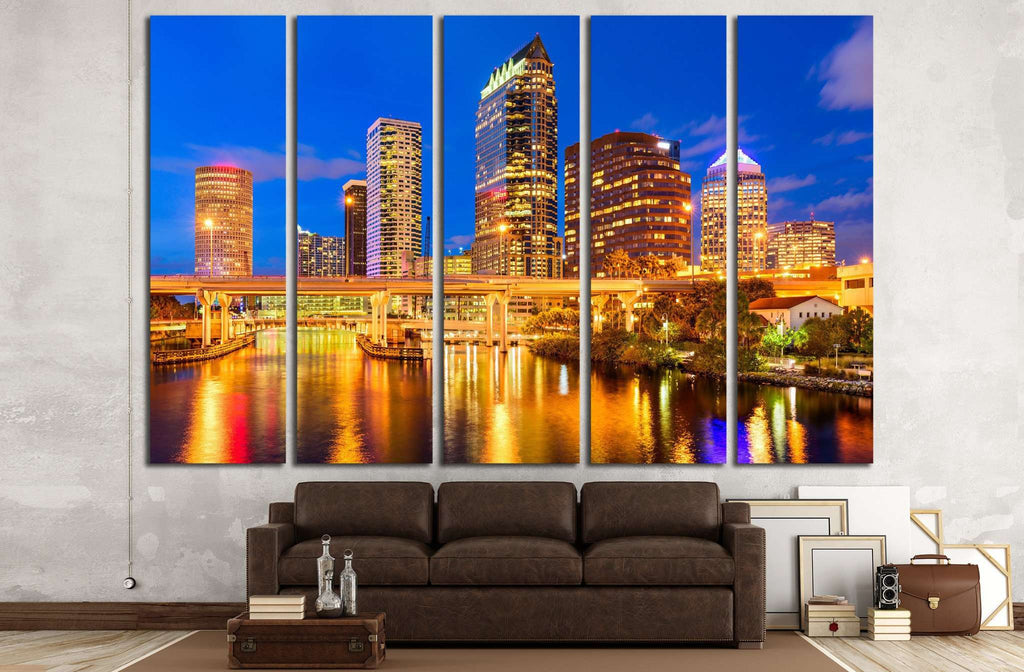 Tampa, Florida, USA downtown skyline on the Hillsborough River №1711 Ready to Hang Canvas Print
