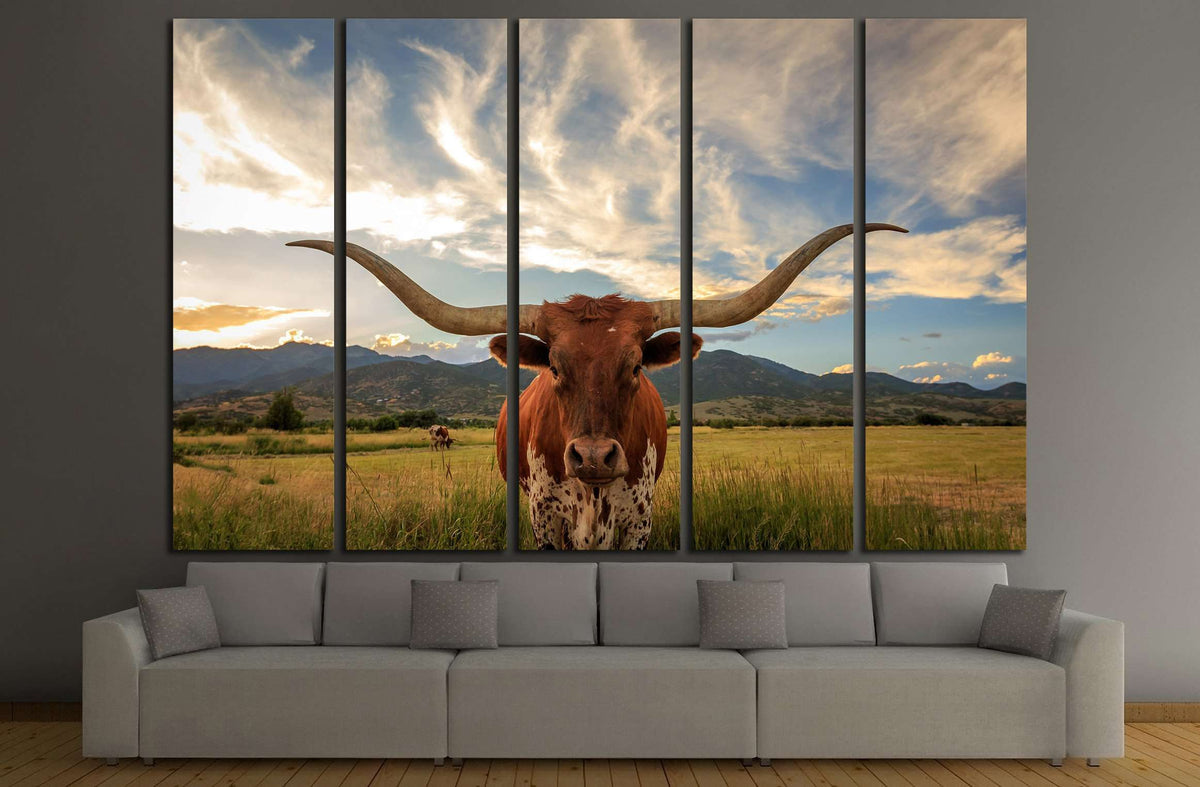 Longhorn Print Longhorn Texas Cow Print Framed Canvas