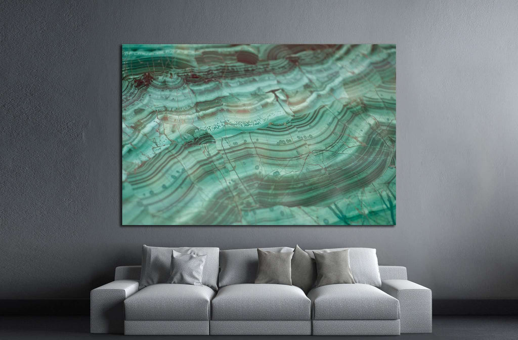 Texture of polished Malachite №1399 Ready to Hang Canvas Print