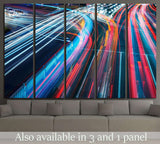 The car light trails in the city №2215 Ready to Hang Canvas Print
