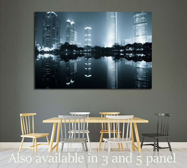 the night view of the lujiazui financial centre in shanghai china №2230 Ready to Hang Canvas Print