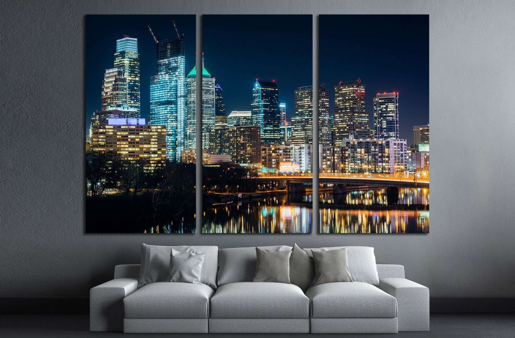 The Philadelphia skyline and Schuylkill River at night, Pennsylvania №2026 Ready to Hang Canvas Print