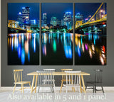 The Pittsburgh skyline, Allegheny River at night, Pennsylvania №1705 Ready to Hang Canvas Print
