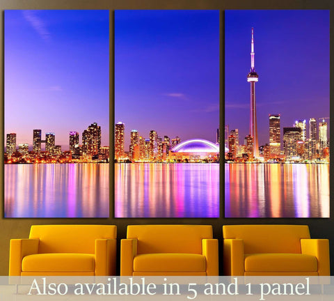 The Reflection of Toronto skyline in Ontario, Canada №2055 Ready to Hang Canvas Print