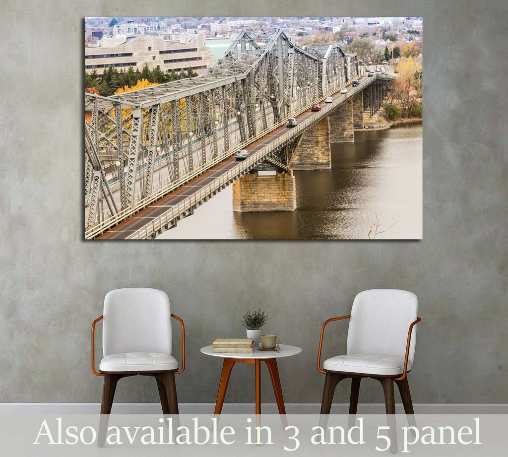 The Royal Alexandra Interprovincial Bridge is a steel truss cantilever bridge spanning the Ottawa River between Ottawa, Ontario and Gatineau, Quebec, Ottawa, Canada №2020 Ready to Hang Canvas Print