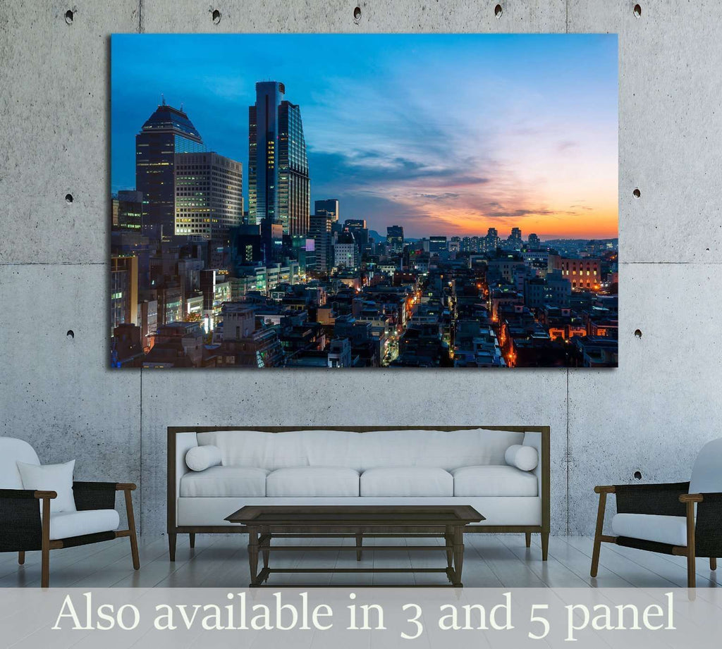 The sun sets over the Gangnam district of Seoul, South Korea №1634 Ready to Hang Canvas Print