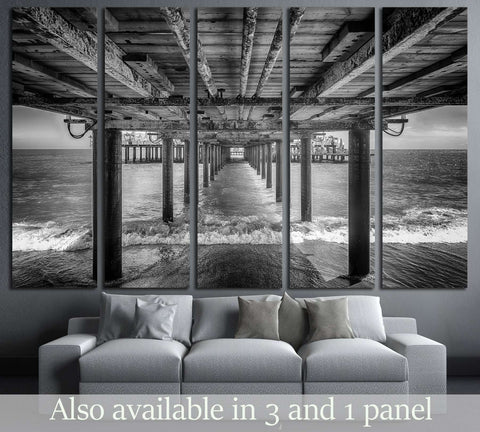 The underside of a pier with rest area on the end of it, black and white №2935 Ready to Hang Canvas Print