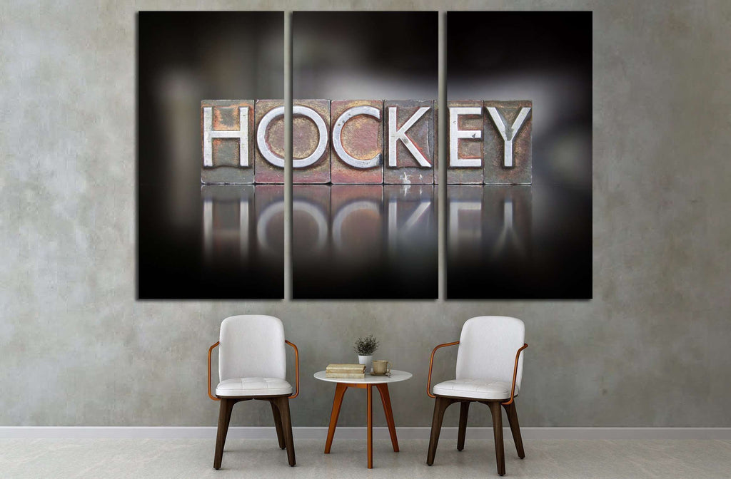 The word Hockey written in vintage letterpress type №2128 Ready to Hang Canvas Print