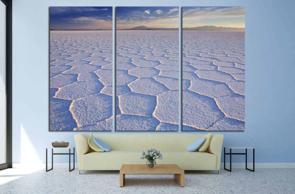 The world's largest salt flat, Salar de Uyuni in Bolivia, photographed at sunrise №1981 Ready to Hang Canvas Print