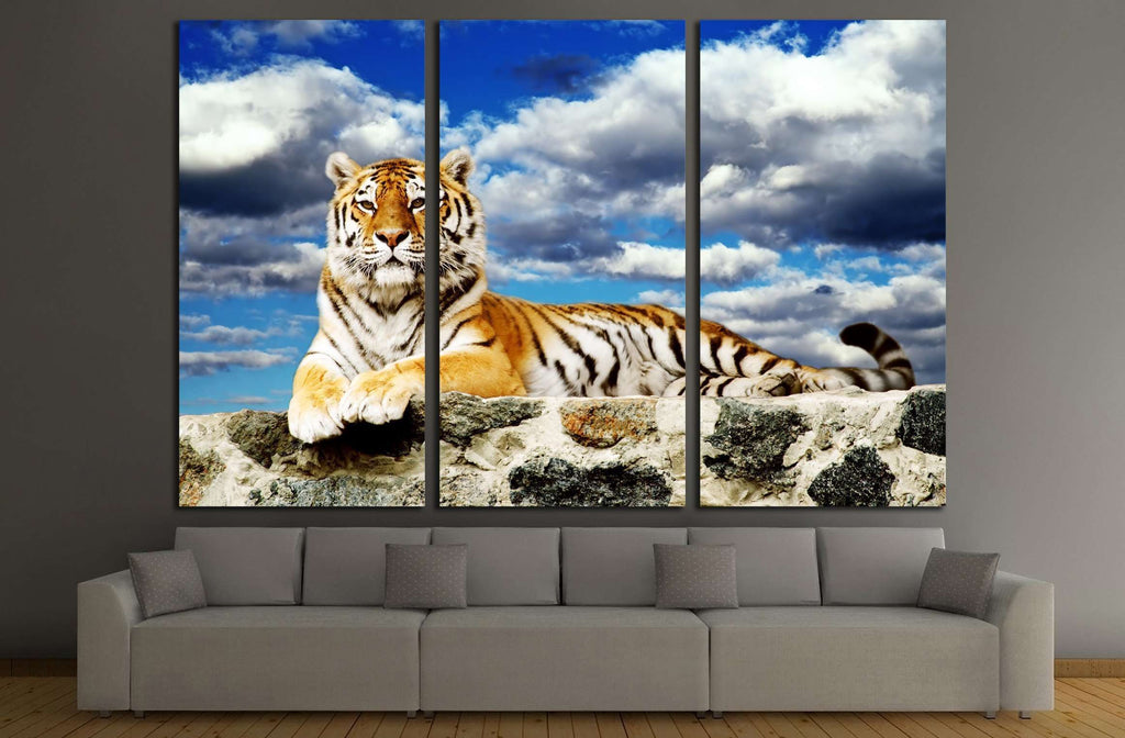Tiger lay in the storm sky №2331 Ready to Hang Canvas Print
