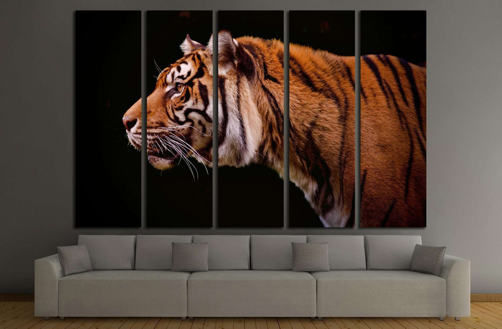 Tiger profile isolated on a black background №2341 Ready to Hang Canvas Print