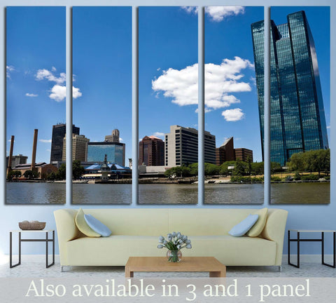 Toledo, OH Skyline from a Boat on the Maumee River №1736 Ready to Hang Canvas Print