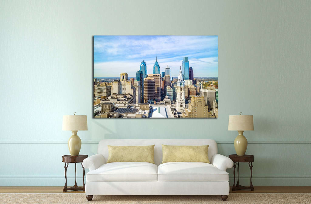 Top view of downtown skyline Philadelphia USA №2058 Ready to Hang Canvas Print