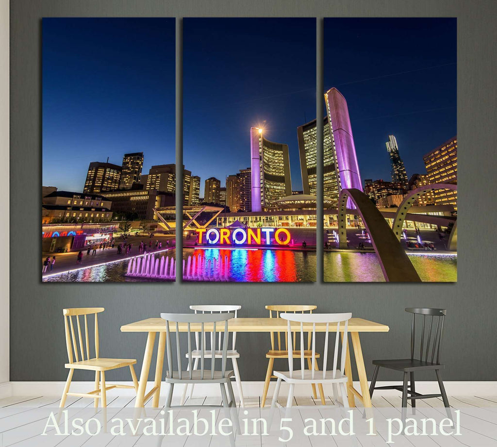 Toronto City Hall and Nathan Phillips Square at night №1955 Ready to Hang Canvas Print