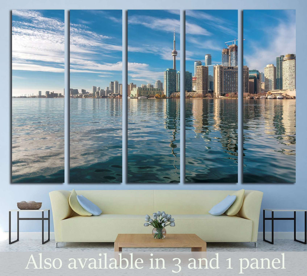 Toronto city skyline and reflection in the lake at sunset, Ontario, Canada №2012 Ready to Hang Canvas Print