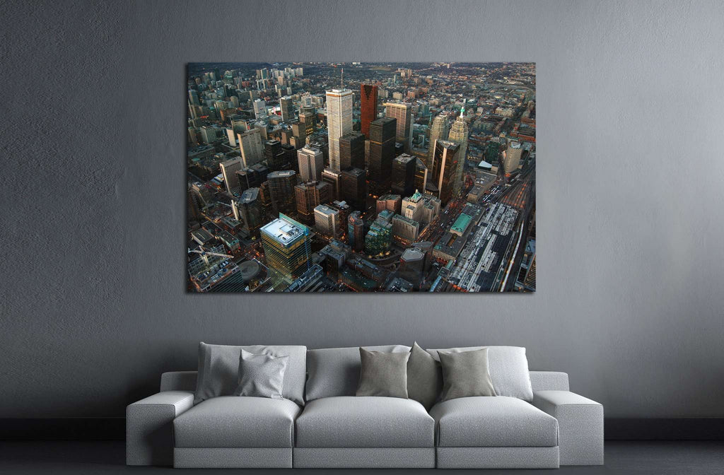 Toronto Skyline and Skyscrapers, view from CN tower, Toronto, Ontario, Canada №2019 Ready to Hang Canvas Print