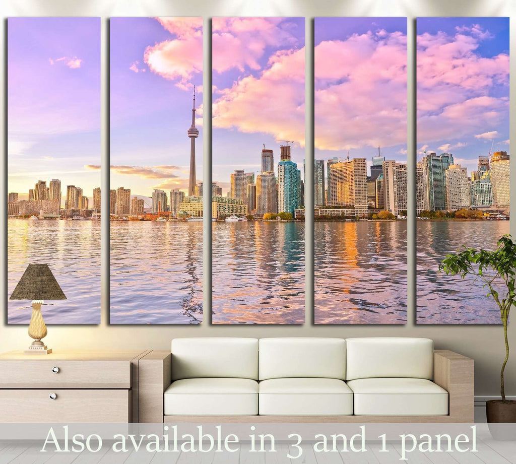 Toronto skyline at dusk in Ontario, Canada. №2059 Ready to Hang Canvas Print
