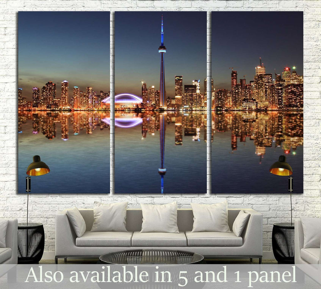 Toronto Skyline at night with a reflection in Lake Ontario №2040 Ready to Hang Canvas Print