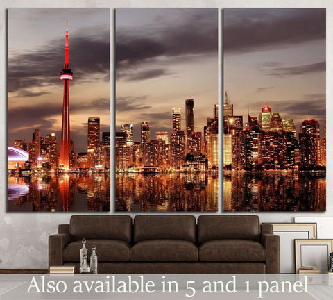 Toronto Skyline at sunset, Ontario, Canada №2069 Ready to Hang Canvas Print