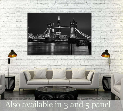 Tower Bridge London black and white №3039 Ready to Hang Canvas Print