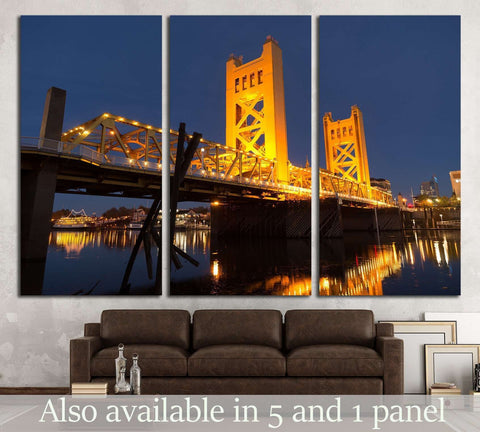 Tower Bridge Sacramento River Capital City California №1641 Ready to Hang Canvas Print
