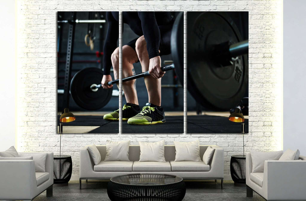 Training with barbell №1383 Ready to Hang Canvas Print