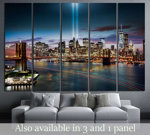 Tribute in Light memorial, Brooklyn Bridge and the Lower Manhattan skyline at dusk №2655 Ready to Hang Canvas Print
