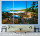 Tropical beach near Tangalle, Sri Lanka. Stones at foreground №1961 Ready to Hang Canvas Print